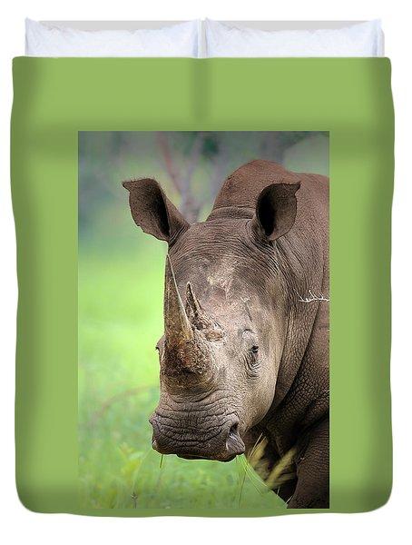 White Rhinoceros Duvet Cover by Johan Swanepoel