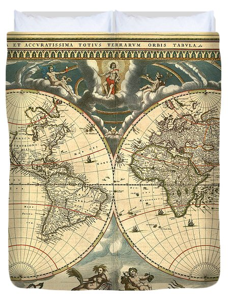 World Map Duvet Cover by Gary Grayson