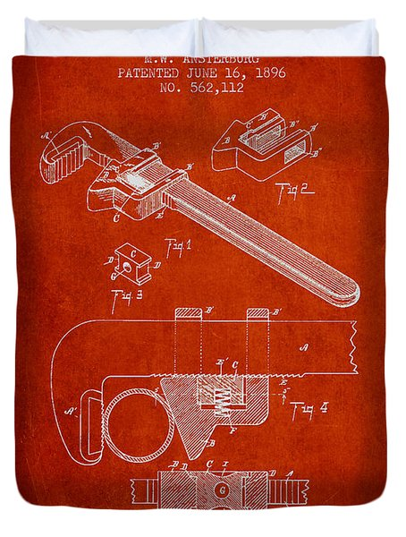 Wrench Patent Drawing From 1896 Duvet Cover by Aged Pixel
