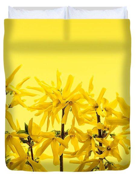 Yellow Forsythia Flowers Duvet Cover by Elena Elisseeva