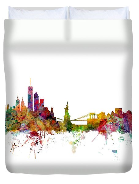 New York Skyline Duvet Cover by Michael Tompsett