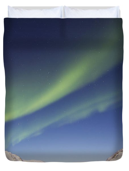 Aurora Borealis With Moonlight Duvet Cover by Joseph Bradley