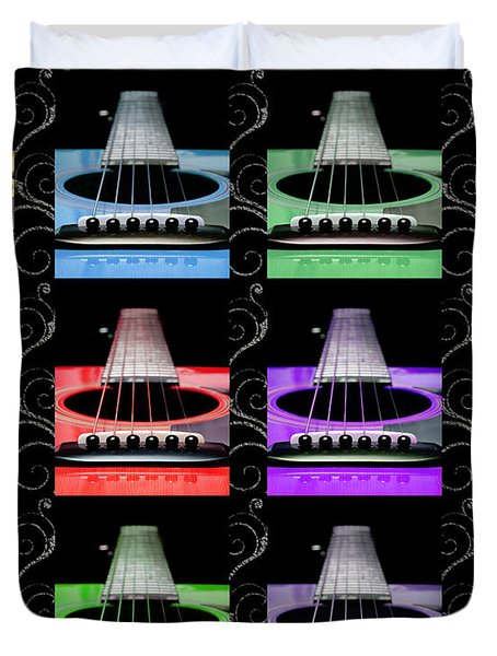 12 Color Guitars Duvet Cover by Andee Design