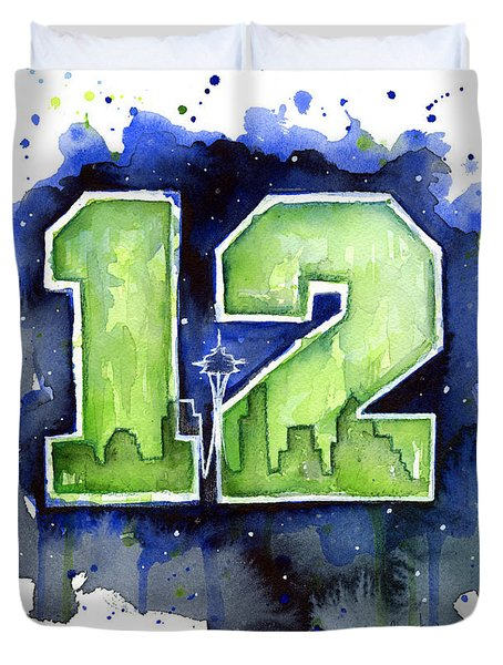 12th Man Seahawks Art Seattle Go Hawks Duvet Cover by Olga Shvartsur