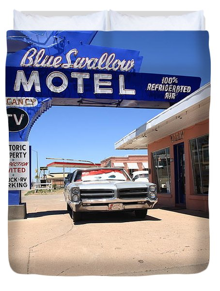 Route 66 - Blue Swallow Motel Duvet Cover by Frank Romeo