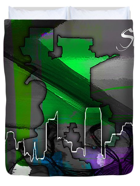 Sacramento Map And Skyline Watercolor Duvet Cover by Marvin Blaine