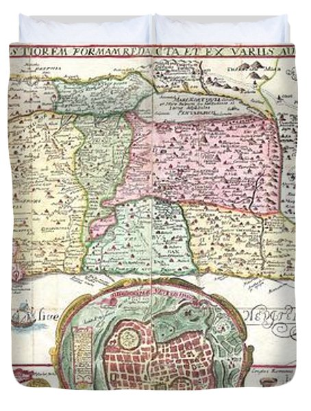 1632 Tirinus Map of the Holy Land Duvet Cover by Paul Fearn