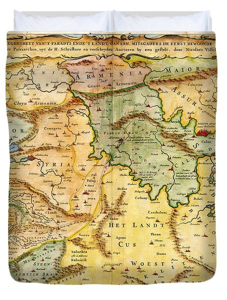 1657 Visscher Map Of The Holy Land Or The Earthly Paradise Geographicus Gelengentheyt Visscher 1657 Duvet Cover by MotionAge Designs