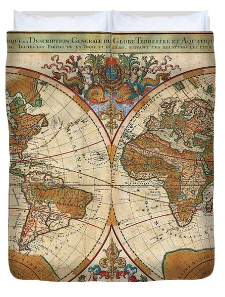 1691 Sanson Map Of The World On Hemisphere Projection Geographicus World Sanson 1691 Duvet Cover by MotionAge Designs