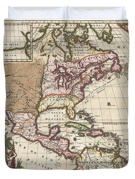 1698 Louis Hennepin Map Of North America Geographicus Northamerica Hennepin 1698 Duvet Cover by MotionAge Designs
