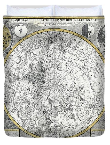 1700 CELESTIAL PLANISPHERE Duvet Cover by Daniel Hagerman