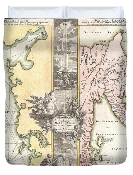1725 Homann Map of the Caspian Sea and Kamchatka Duvet Cover by Paul Fearn