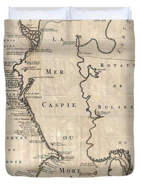1730 Van Verden Map Of The Caspian Sea Duvet Cover by Paul Fearn
