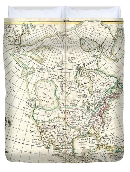 1762 Janvier Map Of North America  Duvet Cover by Paul Fearn
