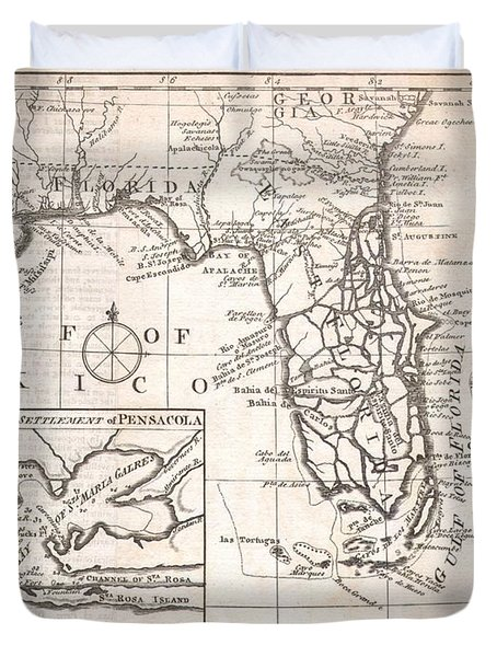 1763 Gibson Map of East and West Florida Duvet Cover by Paul Fearn