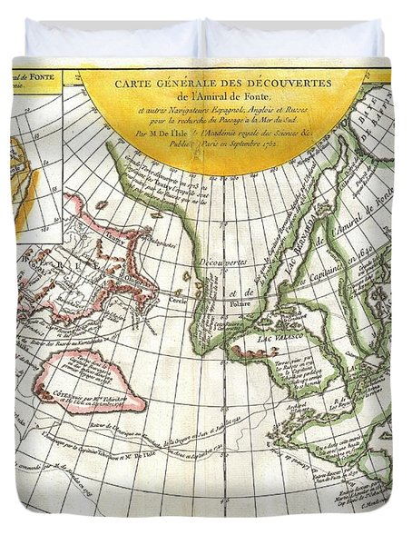 1772 Vaugondy and Diderot Map of the Pacific Northwest and the Northwest Passage Duvet Cover by Paul Fearn