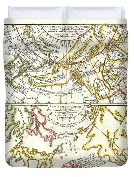 1772 Vaugondy Diderot Map of Alaska the Pacific Northwest and the Northwest Passage Duvet Cover by Paul Fearn