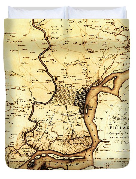 1777 Philadelphia Map Duvet Cover by Scull and Heap