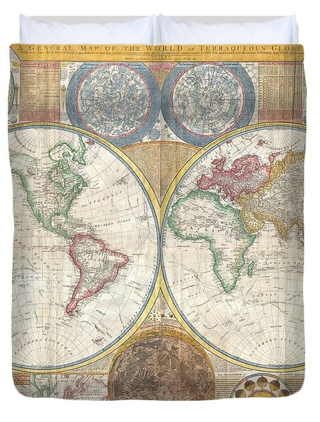 1794 Samuel Dunn Wall Map of the World in Hemispheres Duvet Cover by Paul Fearn