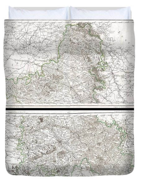 1797 Tardieu Map Of Champagne France Duvet Cover by Paul Fearn