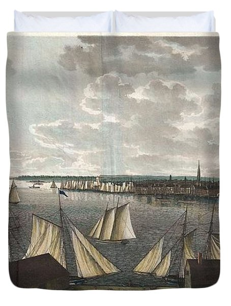 1824 Klinkowstrom View Of New York City From Brooklyn  Duvet Cover by Paul Fearn