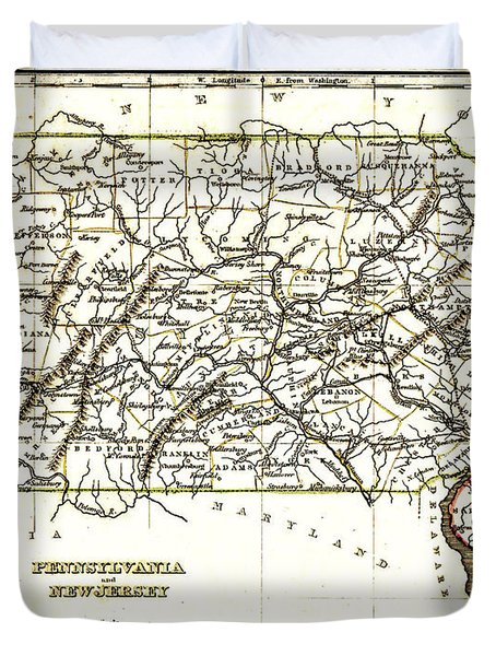 1835 Pennsylvania and New Jersey Map Duvet Cover by Bradford