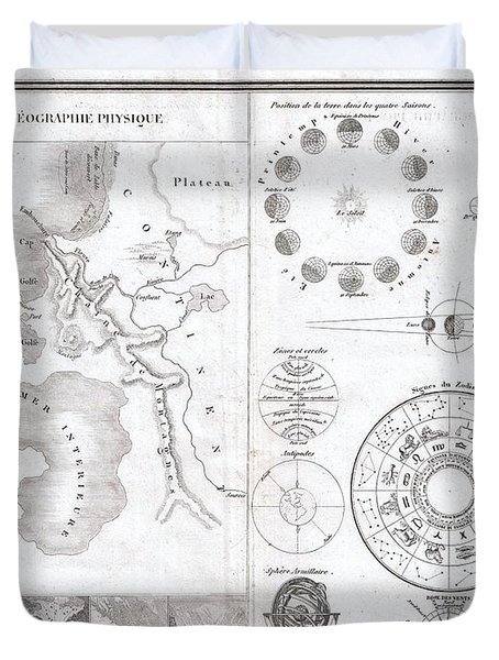 1838 Monin Map Or Physical Tableau And Astronomy Chart Duvet Cover by Paul Fearn