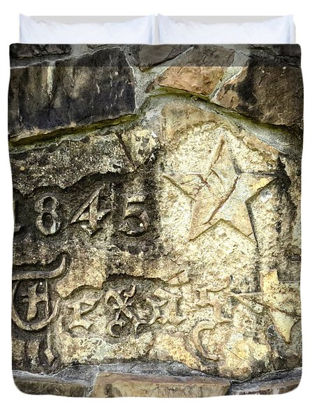 1845 Republic of Texas - Carved in Stone Duvet Cover by Ella Kaye Dickey