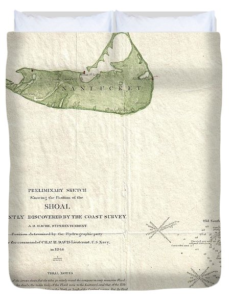 1846 US Coast Survey Map of Nantucket  Duvet Cover by Paul Fearn