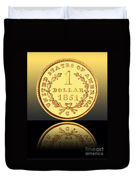 1851 1 Dollar Rare Charlotte Gold Duvet Cover by Jim Carrell