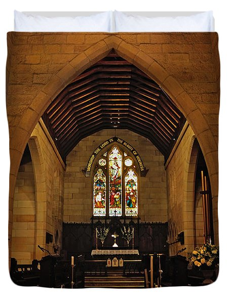 1865 - St. Jude's Church  - Interior Duvet Cover by Kaye Menner