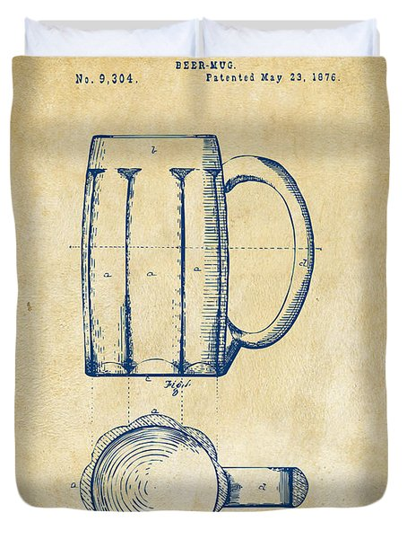 1876 Beer Mug Patent Artwork - Vintage Duvet Cover by Nikki Marie Smith