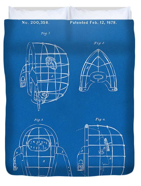 1878 Baseball Catchers Mask Patent - Blueprint Duvet Cover by Nikki Marie Smith