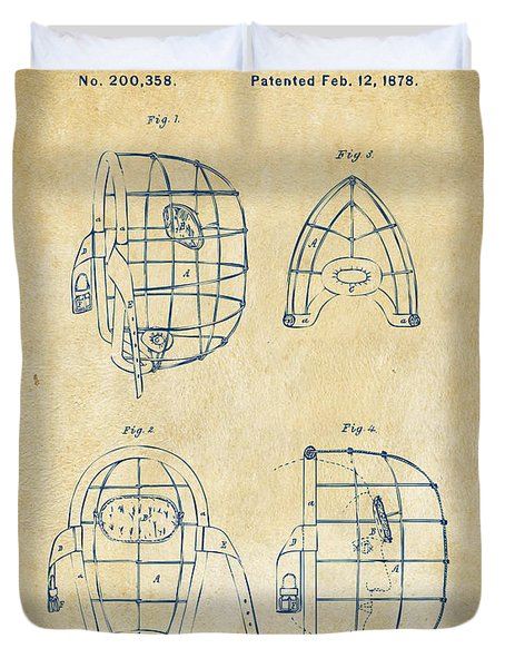 1878 Baseball Catchers Mask Patent - Vintage Duvet Cover by Nikki Marie Smith