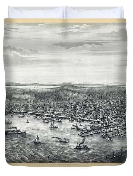 1878 Seattle Washington Map Duvet Cover by Daniel Hagerman