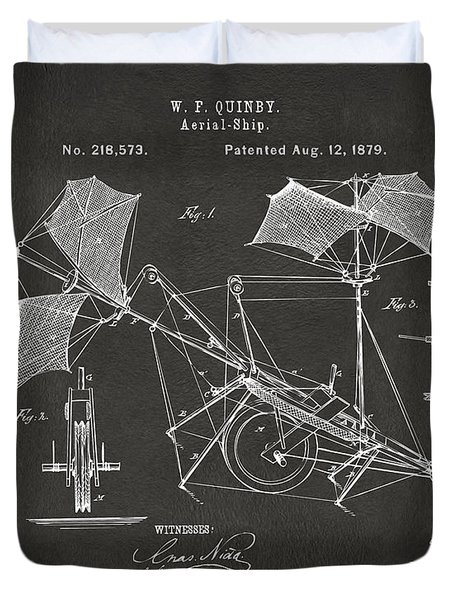 1879 Quinby Aerial Ship Patent - Gray Duvet Cover by Nikki Marie Smith