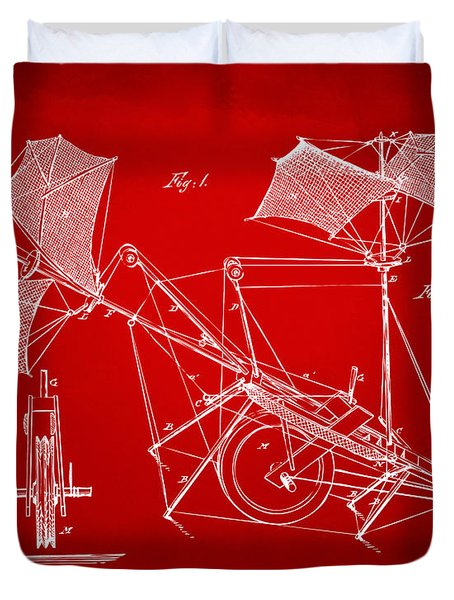 1879 Quinby Aerial Ship Patent Minimal - Red Duvet Cover by Nikki Marie Smith