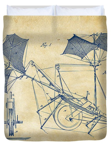1879 Quinby Aerial Ship Patent Minimal - Vintage Duvet Cover by Nikki Marie Smith