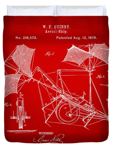 1879 Quinby Aerial Ship Patent - Red Duvet Cover by Nikki Marie Smith