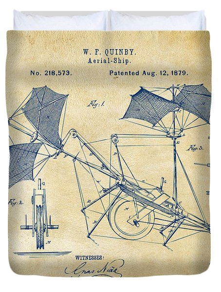 1879 Quinby Aerial Ship Patent - Vintage Duvet Cover by Nikki Marie Smith