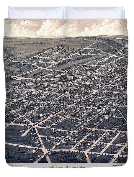 1880 Birds Eye Map Of Ann Arbor Duvet Cover by Stephen Stookey