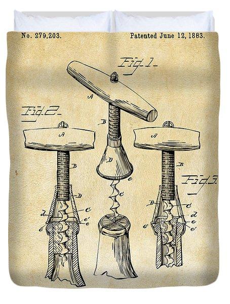 1883 Wine Corckscrew Patent Art - Vintage Black Duvet Cover by Nikki Marie Smith