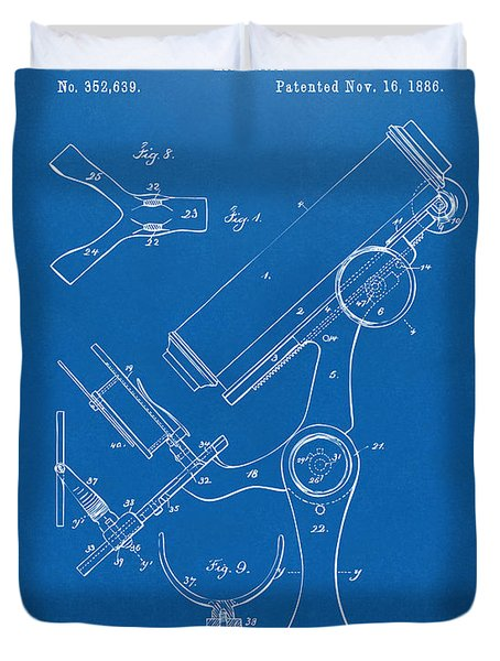 1886 Microscope Patent Artwork - Blueprint Duvet Cover by Nikki Marie Smith