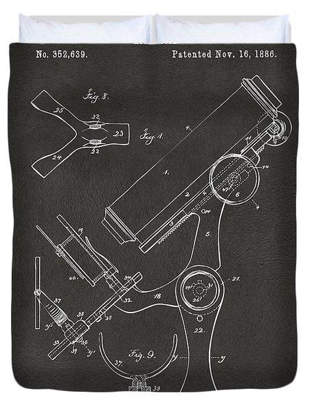 1886 Microscope Patent Artwork - Gray Duvet Cover by Nikki Marie Smith