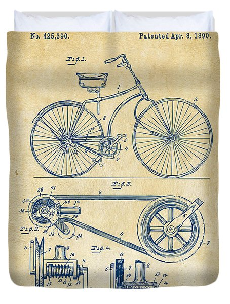 1890 Bicycle Patent Artwork - Vintage Duvet Cover by Nikki Marie Smith