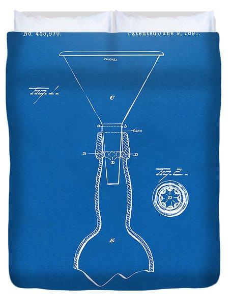 1891 Bottle Neck Patent Artwork Blueprint Duvet Cover by Nikki Marie Smith