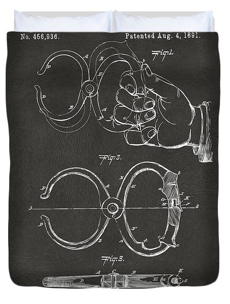 1891 Police Nippers Handcuffs Patent Artwork - Gray Duvet Cover by Nikki Marie Smith