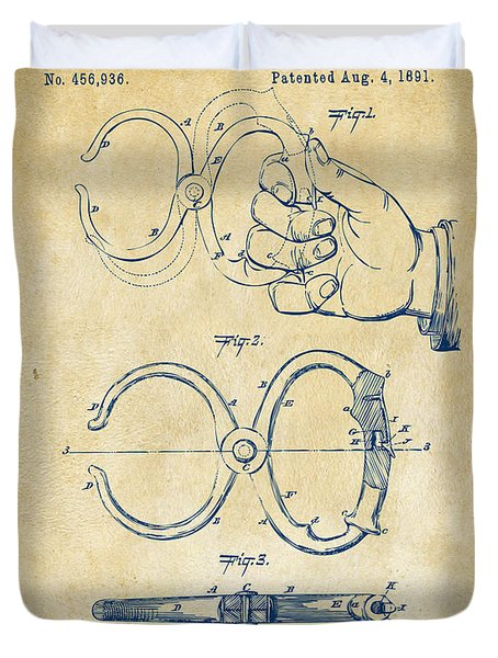 1891 Police Nippers Handcuffs Patent Artwork - Vintage Duvet Cover by Nikki Marie Smith