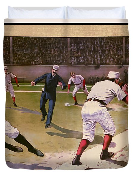 1898 BASEBALL -  AMERICAN PASTIME  Duvet Cover by Daniel Hagerman
