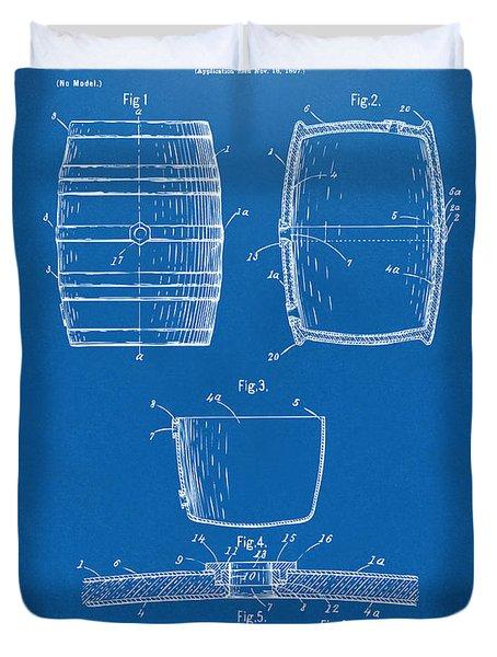 1898 Beer Keg Patent Artwork - Blueprint Duvet Cover by Nikki Marie Smith